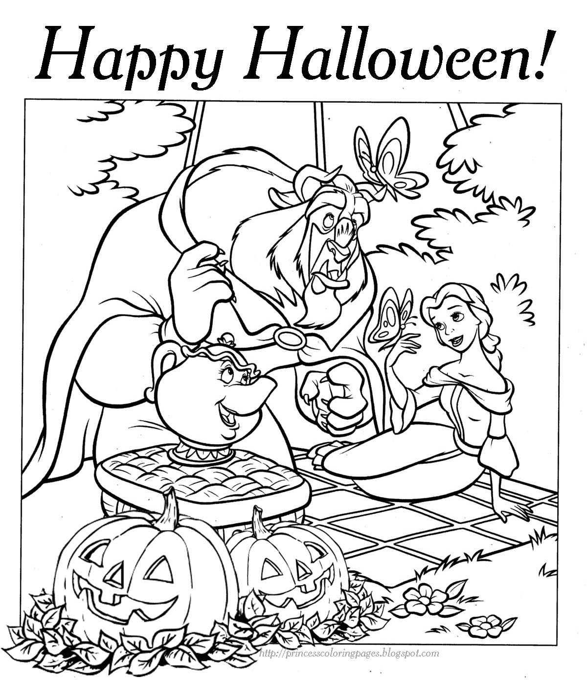 Beauty and The Beast Halloween Coloring Pages - Print Color Craft