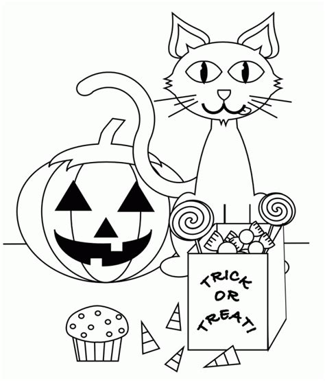 Creepy Halloween Cat Trick or Treat Coloring Page