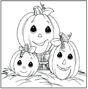 Cute little Pumpkins Print and color Halloween Coloring Sheets