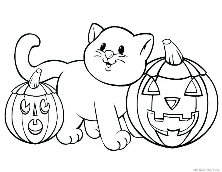 Cute Cat and Carved Pumpkins Printable Coloring Sheets