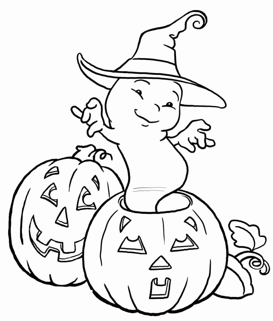 Cute Halloween Ghost And Pumpkin Coloring Pages Kids