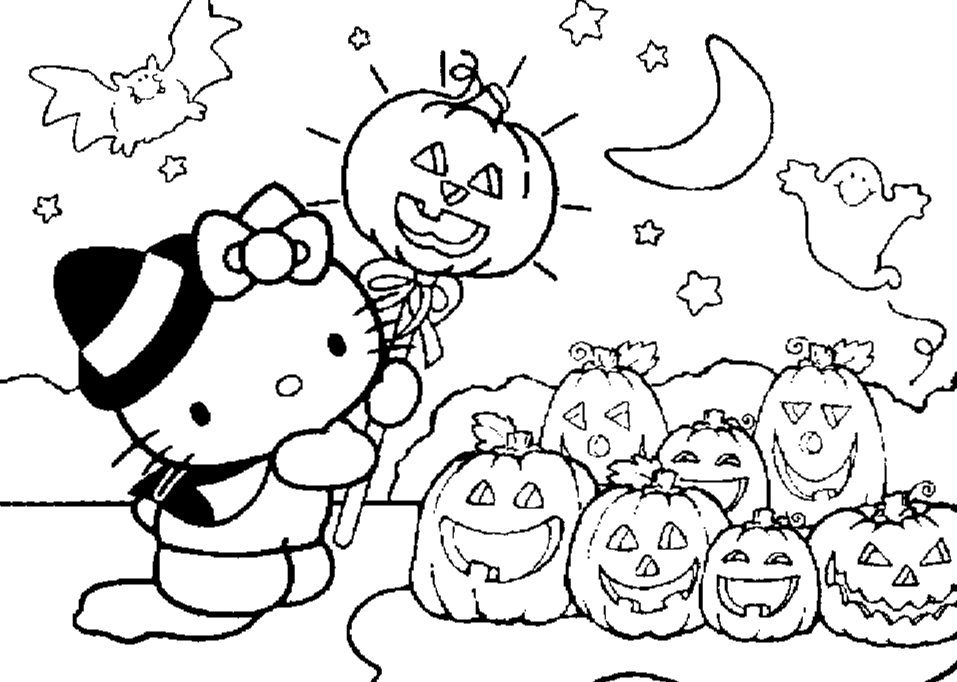 Cute Hello Kitty Print And Color For Halloween Activities