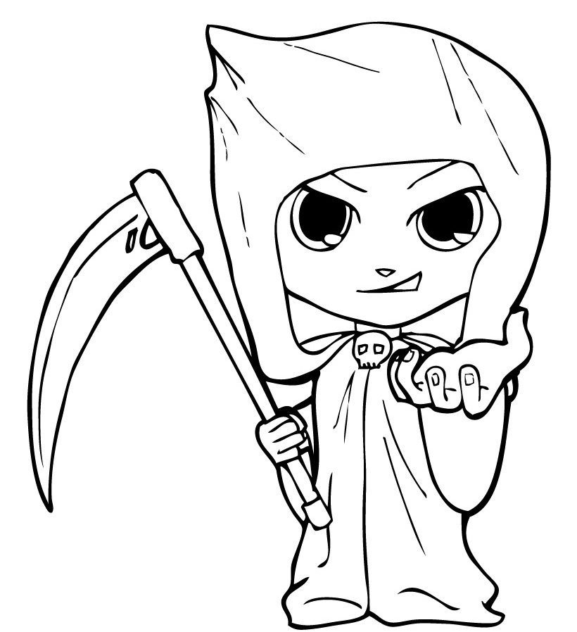 Cute and Scary Grim Ripper Coloring Page