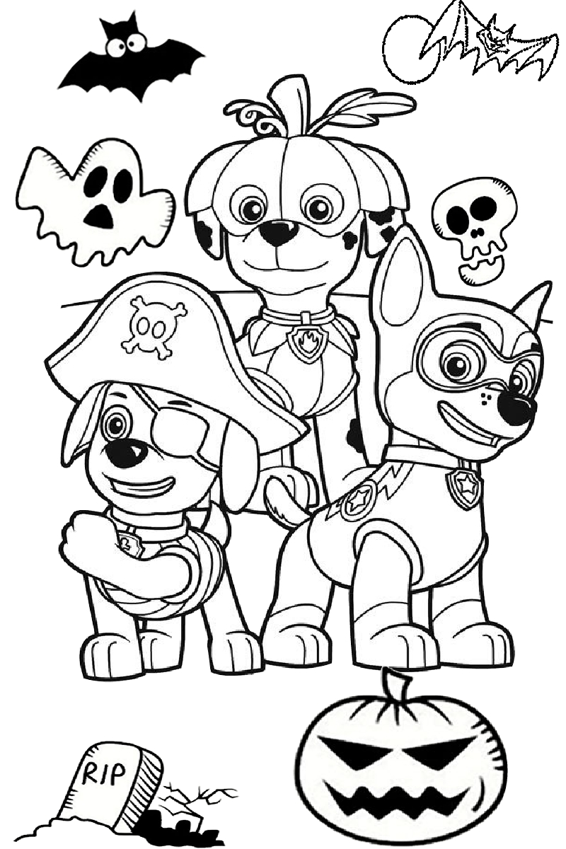 Cute And Scary Paw Patrol Coloring Pages For Halloween Activities