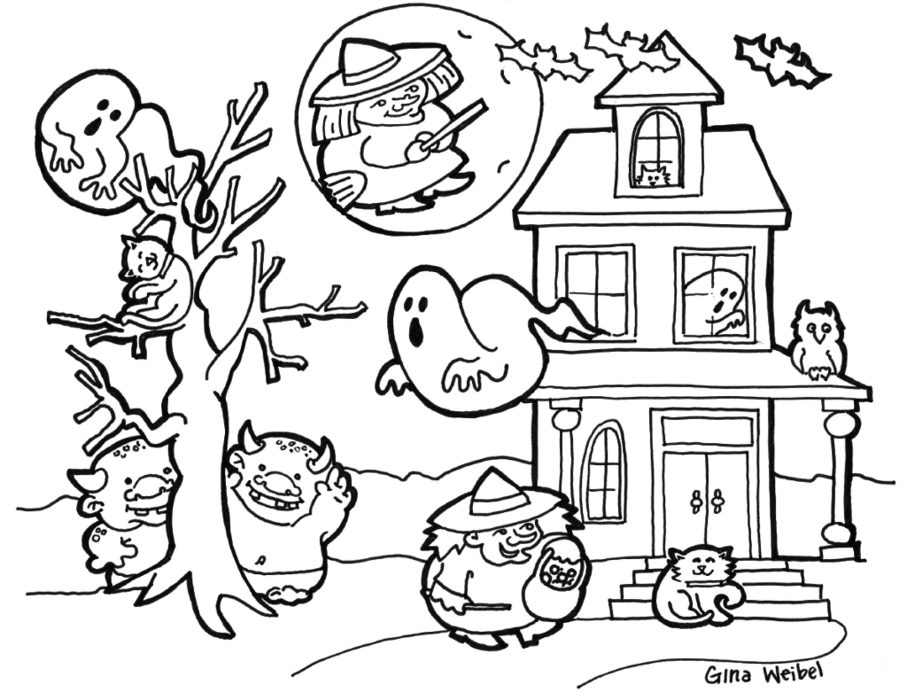 Cute and Spooky Haunted House Boo Weird Witch Ghostly and Creepy Monster to Color for this Halloween