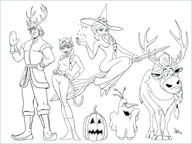 Disney Frozen Anna Elsa Kristoff Olaf Halloween Coloring Page