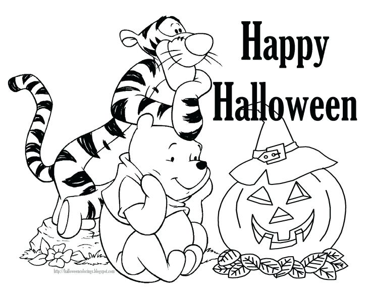 Disney Halloween Winnie Pooh Tiger And Carved Scary Pumpkin Coloring Pages Printable