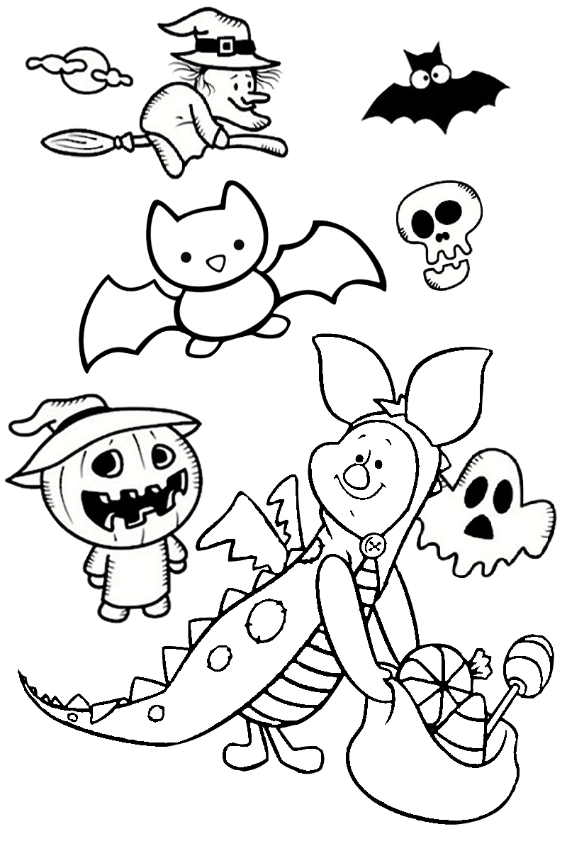 Disney Piglet in Dinosaur Costume Pages to print and Color for Halloween