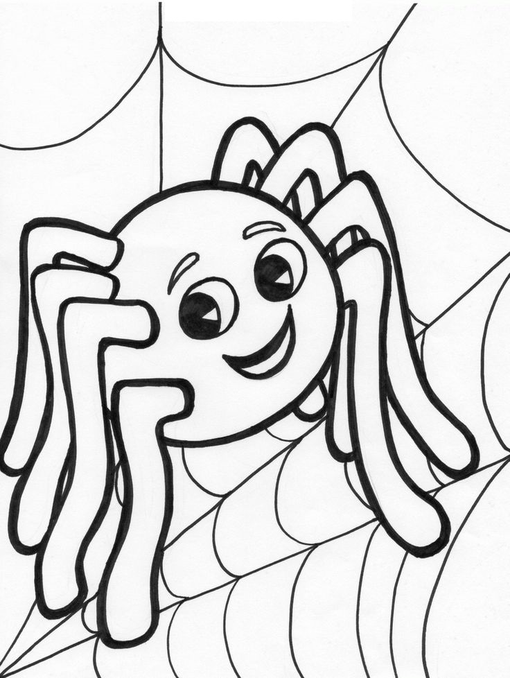 Easy To Color Halloween Spider Coloring Pages For Toddlers Print