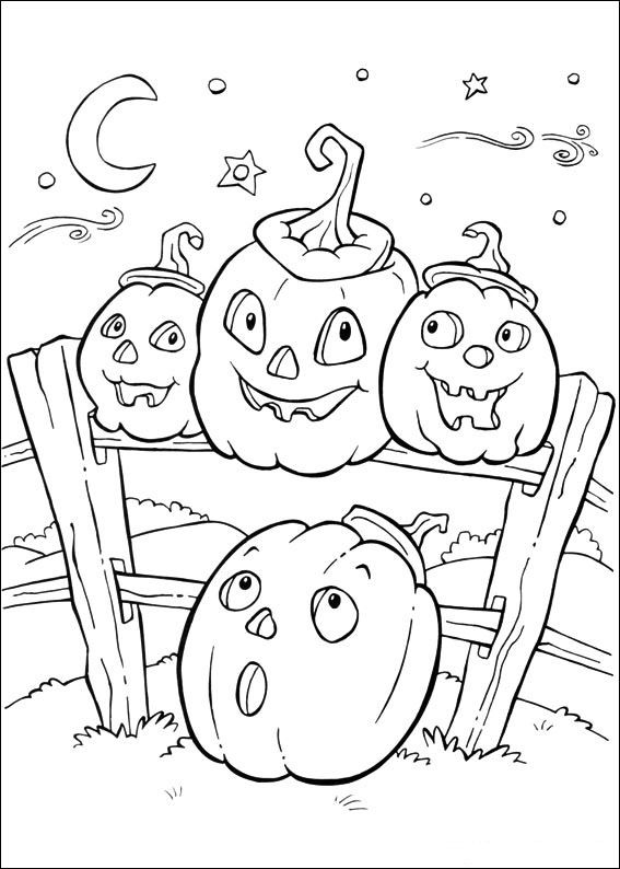 Funny Halloween Pumpkins in Farm on Moon Light Glow Print and Color