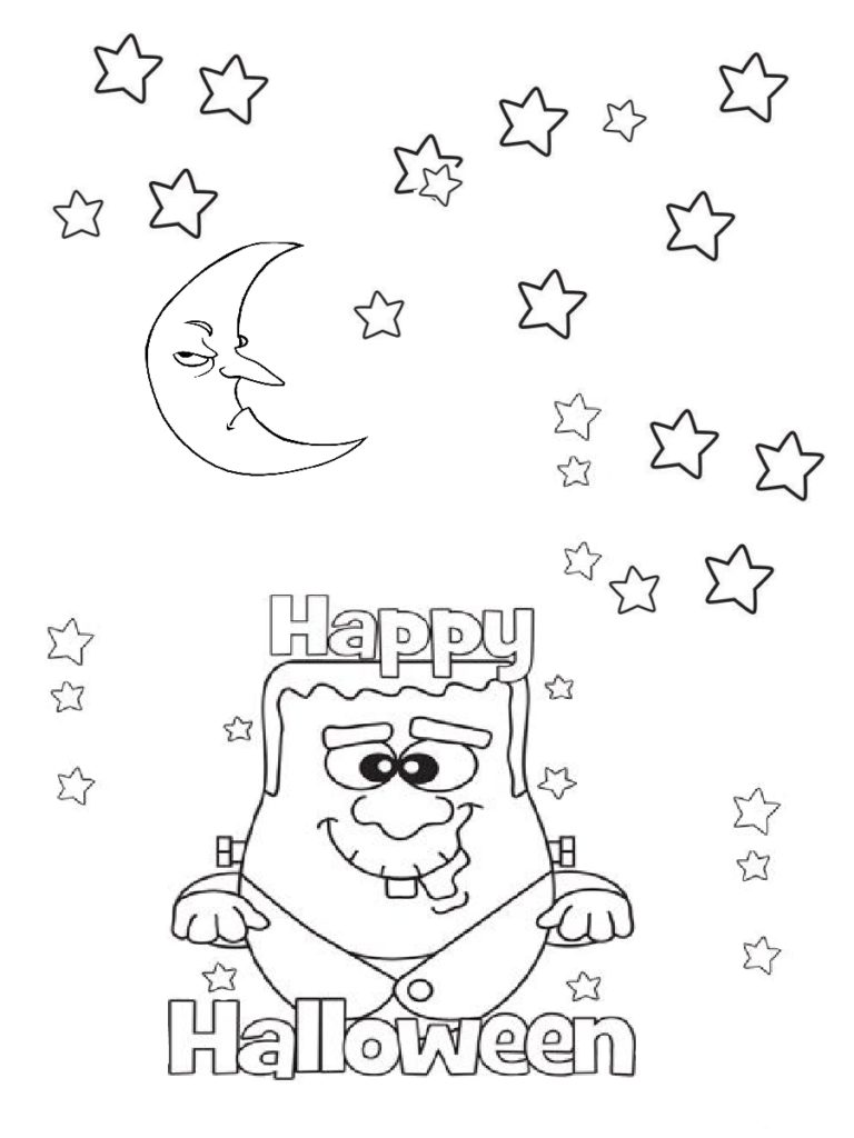 Frankenstein monster and Moon Scary Halloween Coloring Page