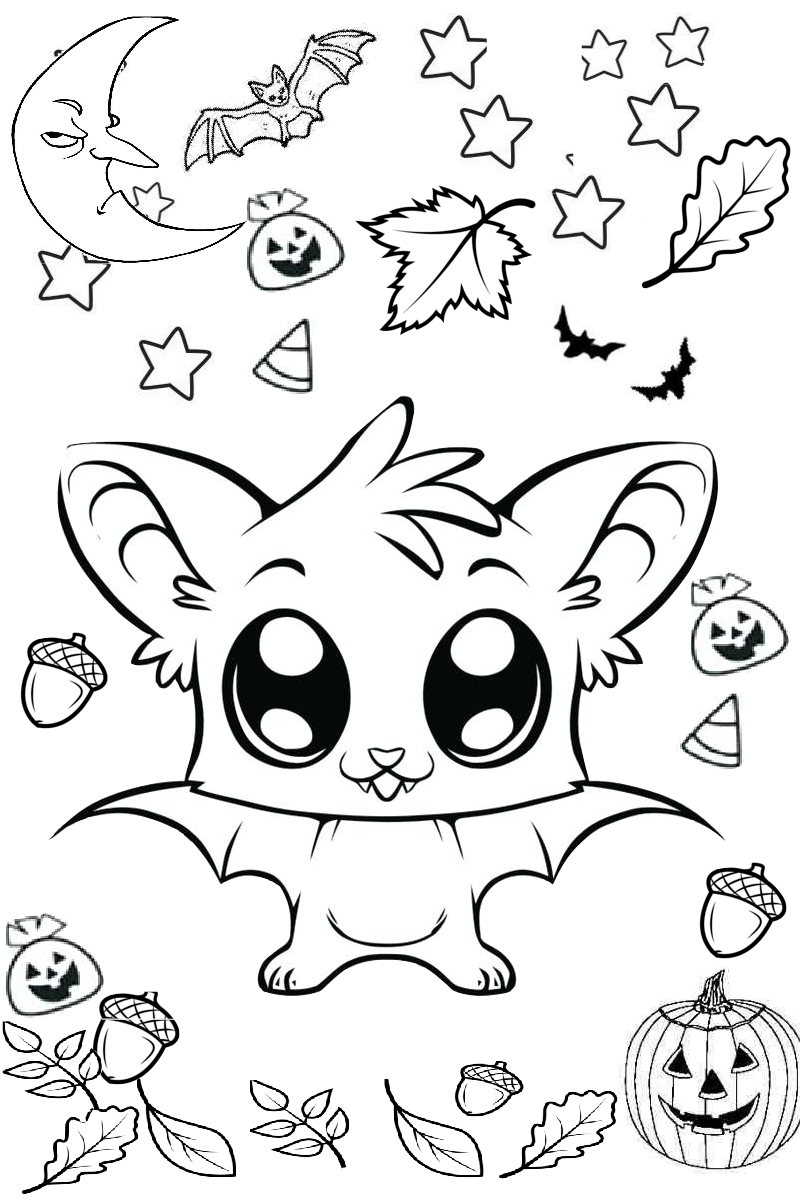 Funny and Cute Bat Printable Coloring Page