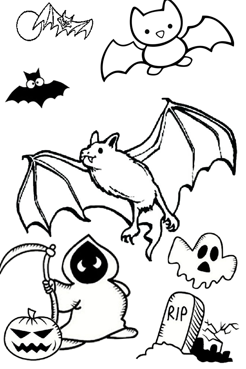 Halloween Bat Spooky Easy Coloring Pages for Toddlers and Preschool