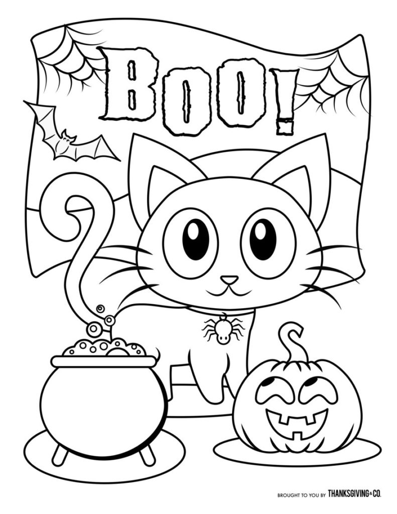 Halloween Coloring pages Little Kitten Boo