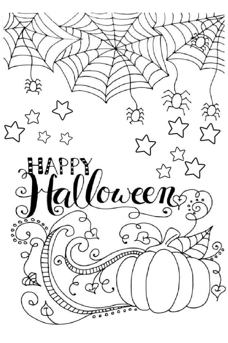 Halloween Coloring Pages with Pumpkin and Spiders