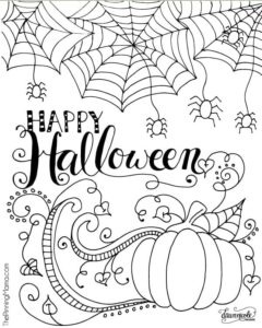 Halloween Adult Coloring pages with pumpkin bats and spiders