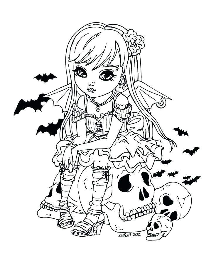 Halloween Girl Coloring Page with Bats and Sugar Skull