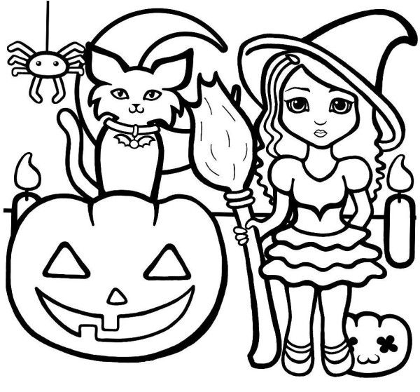 Halloween Monsters Easy Coloring Pages for Toddlers ...
