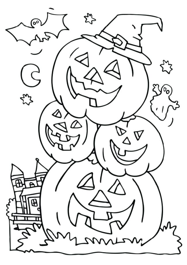 Halloween Pumpkins Laughing Together Coloring Pages