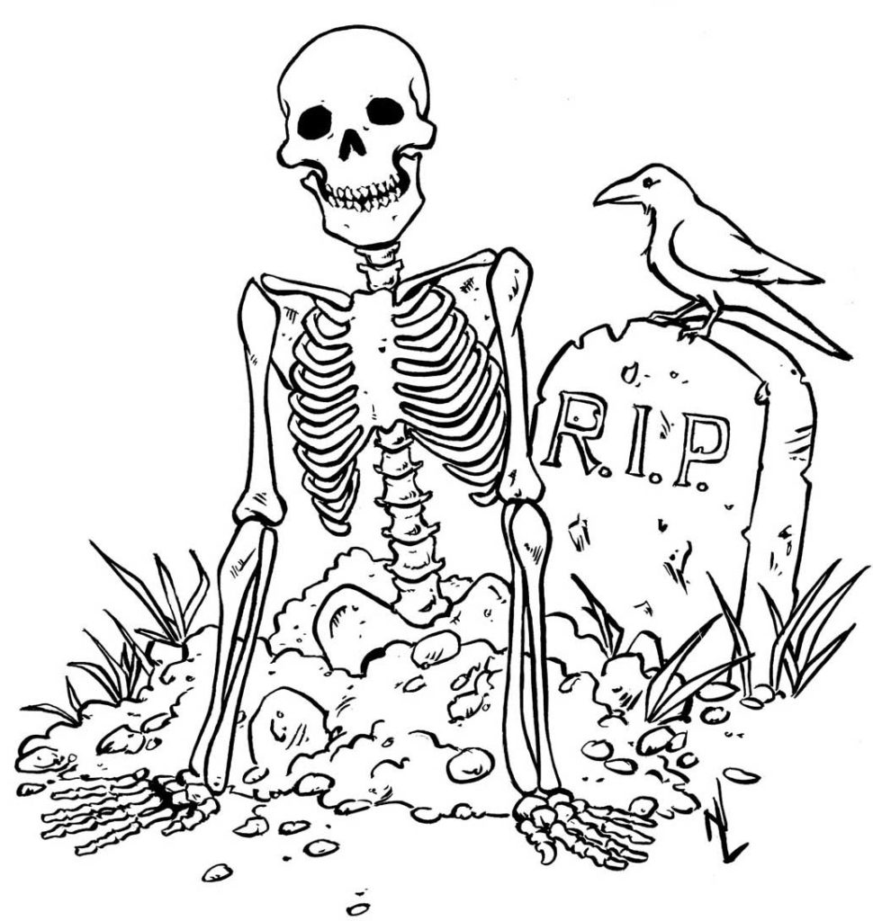 Halloween RIP Skeleton with Raven at Graveyard Coloring Page