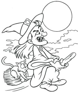 Halloween Witch Coloring Pages - GetColoringPages.com | 300x251
