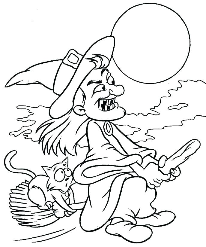 Halloween Witch flying with cat Coloring Page