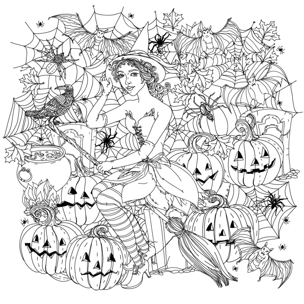 Halloween Witch with spiders and pumpkins pages to color for adults