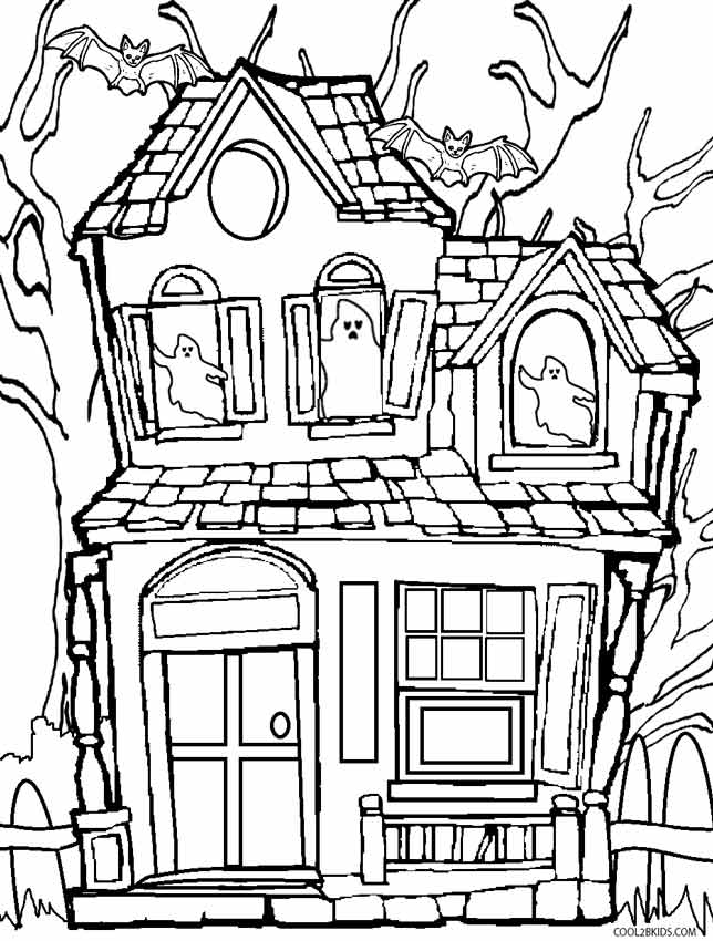 Haunted House Page to Color for Halloween