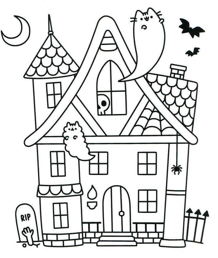 Kawaii Pusheen Halloween Ghost Print and Color Page