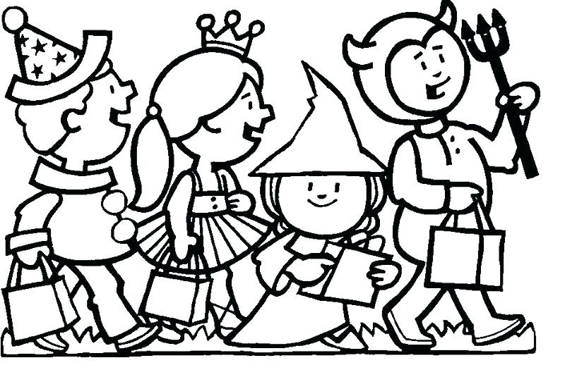 Kids in Halloween Costume Coloring Page