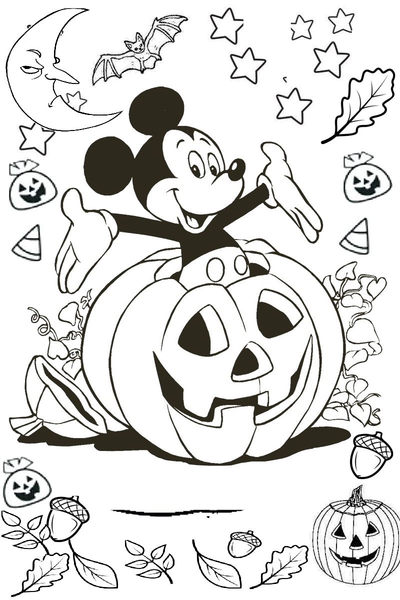 Mickey Mouse Out From Carved Scary Pumpkin Printable Coloring Page