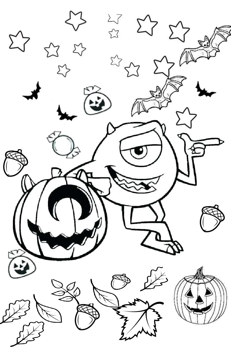 Mike Wazowski Monsters Inc Halloween Scary Boo Coloring Images for Kids