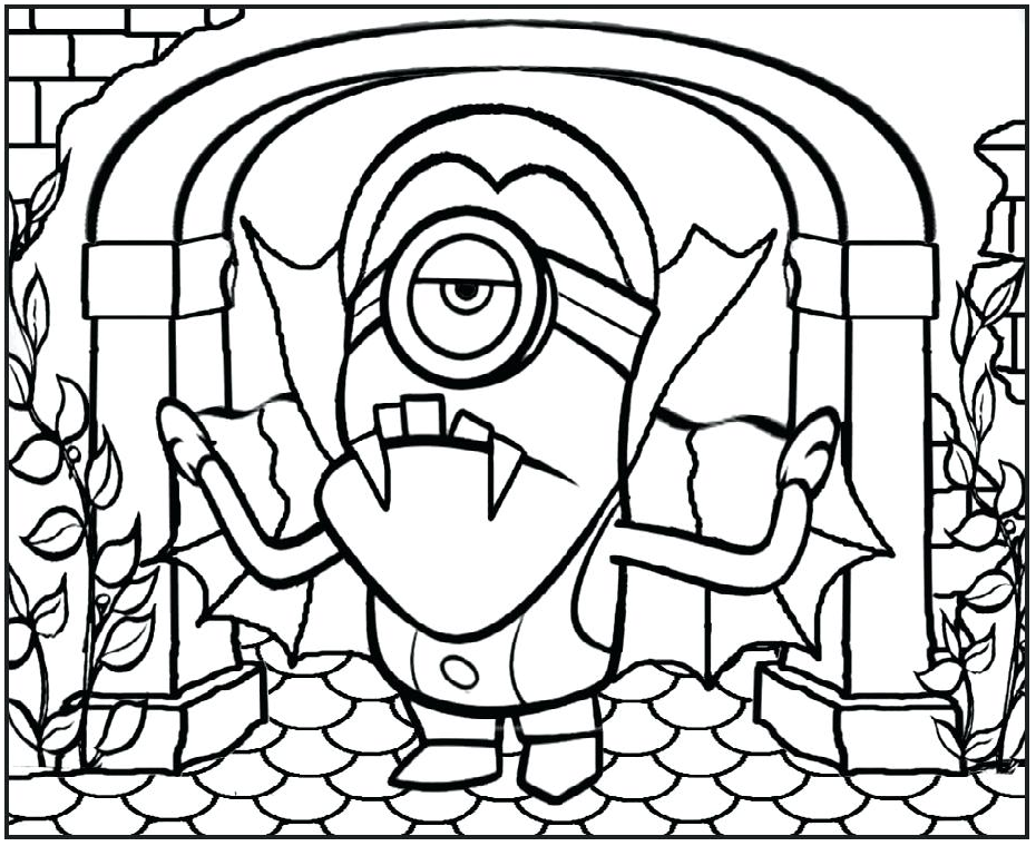 Minions Vampire Look Stained Glass Coloring Page Artwork