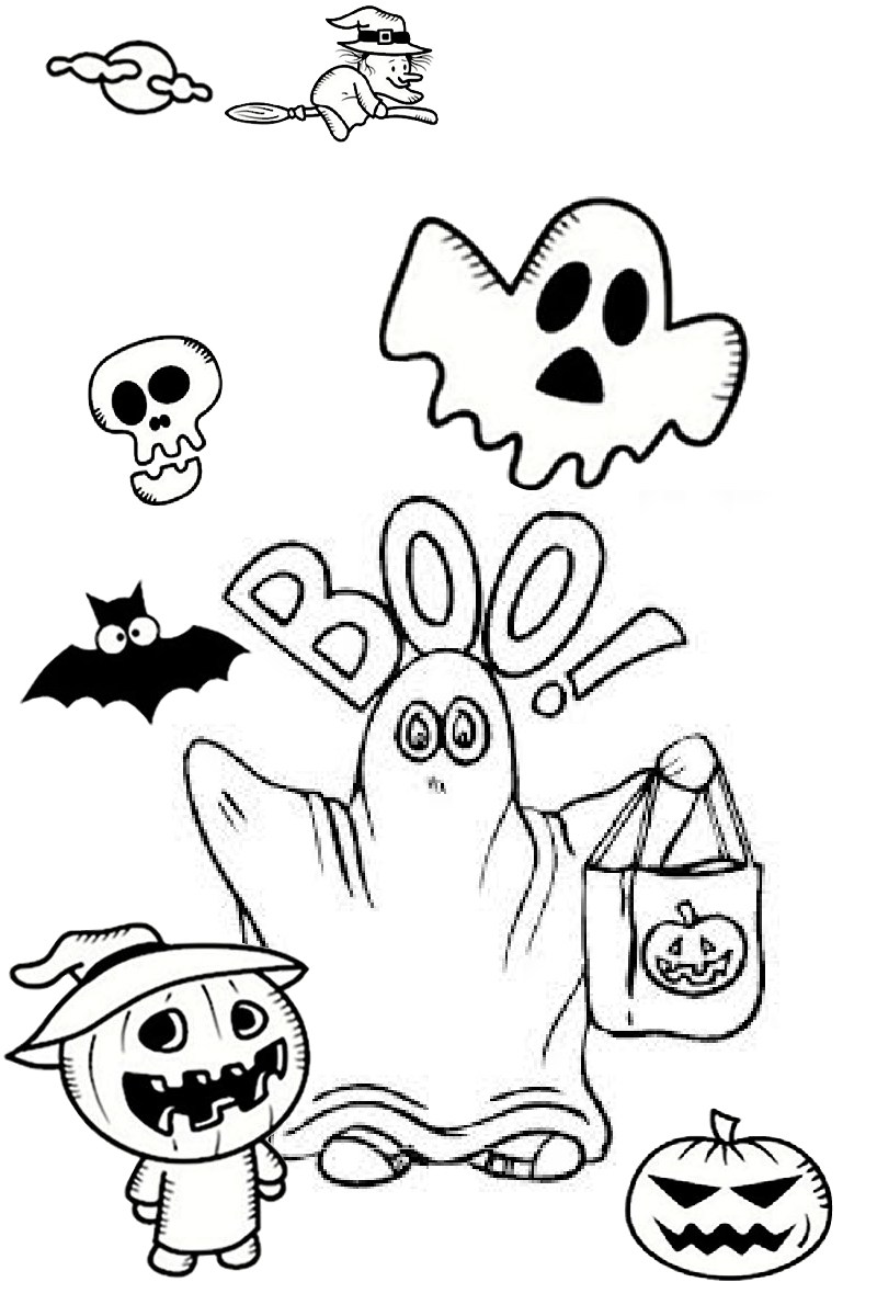 Mysterious Ghostly Boo Coloring Pages Trick or Treat