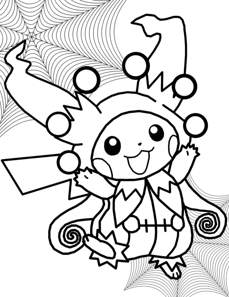Pikachu Halloween Costume Pokemon Coloring Page
