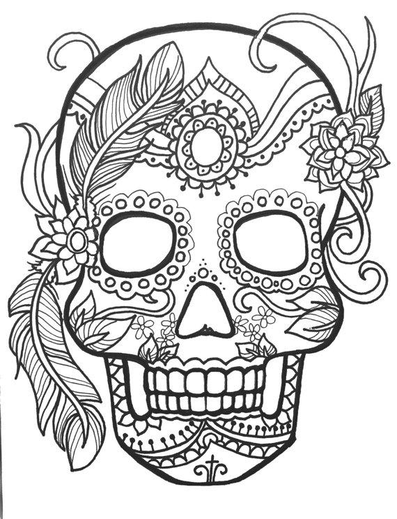 Printable Sugar Skull Spooky Halloween Print and Color Image