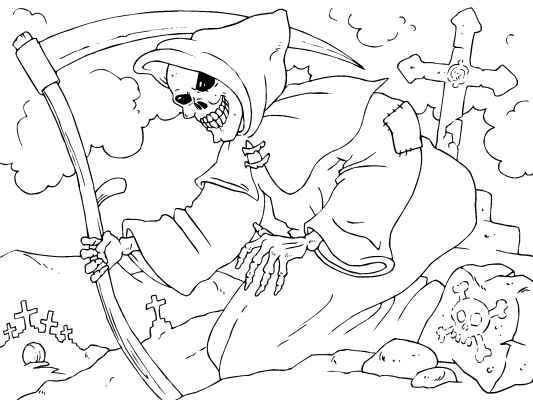 Scary Grim Ripper Coloring Pages for Adults