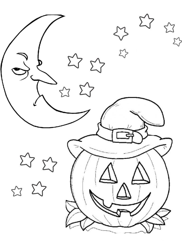 Scary Moon and Pumpkin Carving Halloween Coloring Pages