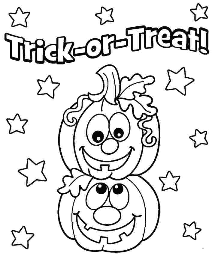 Smiling Cute Halloween Pumpkins Pages to color for preschoolers