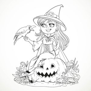 Smiling Witch and Raven Halloween Coloring Pages for Adults Carved Pumpkins and Mushroom