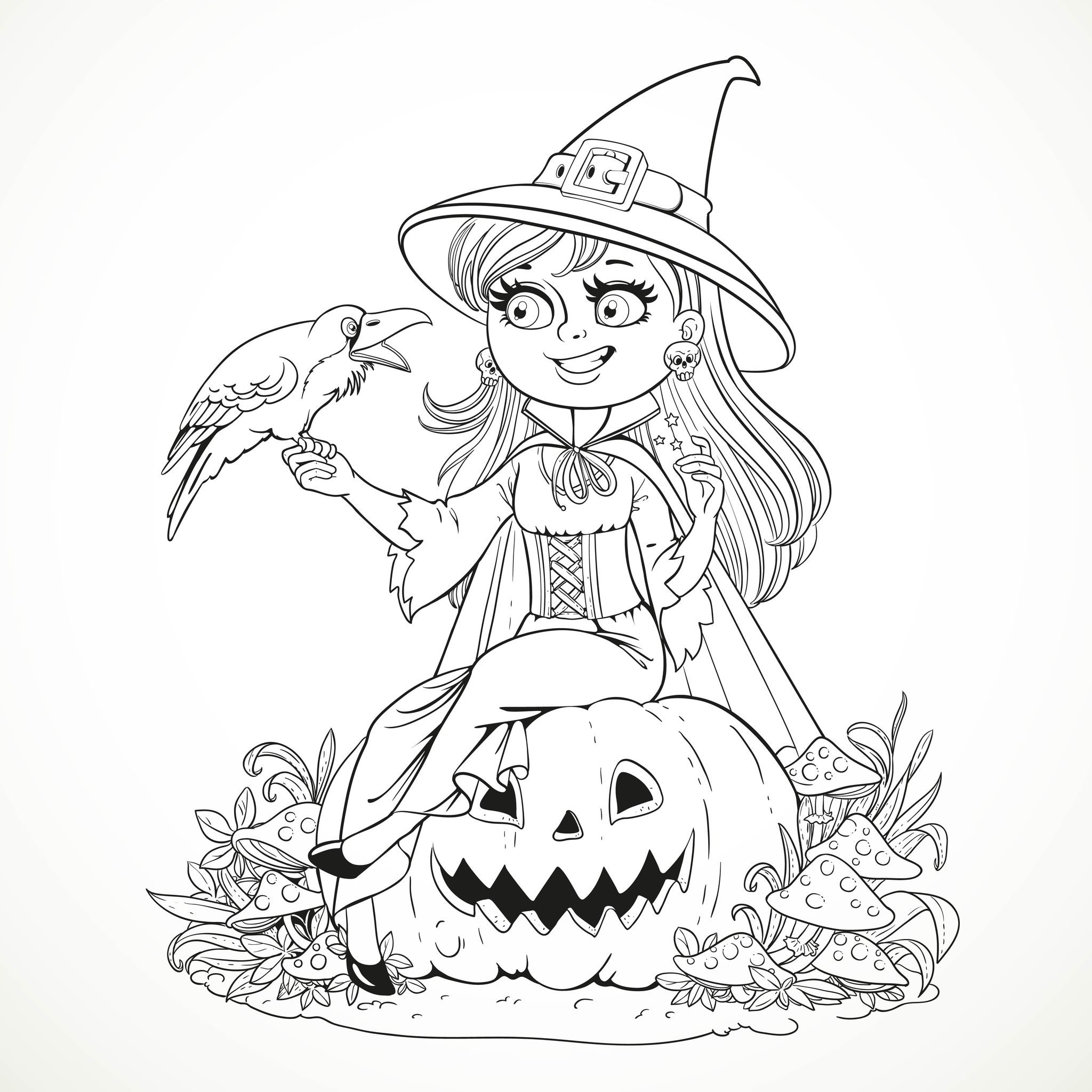 Smiling Witch And Raven Halloween Coloring Pages For Adults Carved