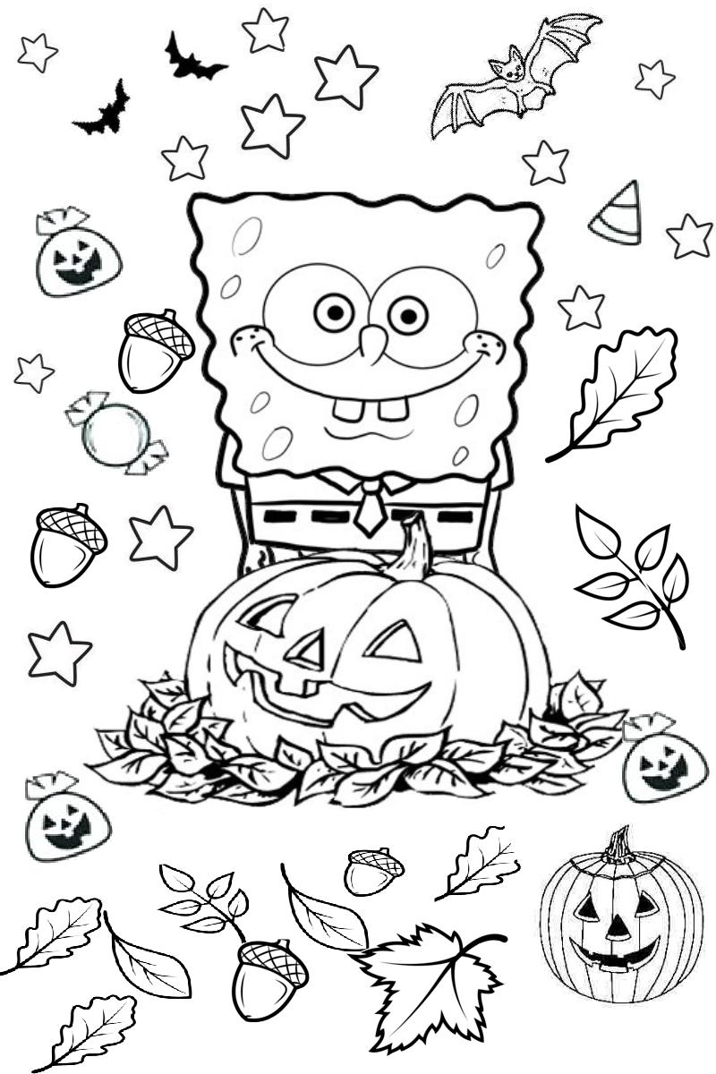 Spongebob squarepants Halloween Spooky Bats and Pumpkin Coloring ...
