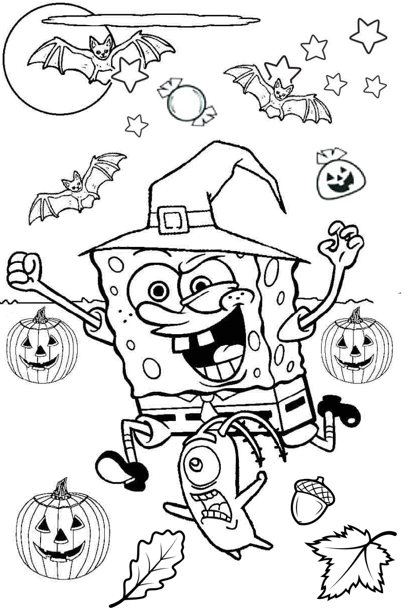 Spongebob squarepants Scary Halloween Coloring Pages with Bats and Pumpkin