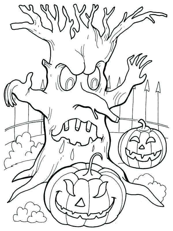 Spooky Scary Halloween Haunted Tree and Pumpkin Coloring Picture