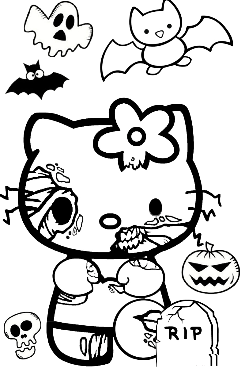 Spooky Scary Halloween Hello Kitty Zombie like Coloring Pages