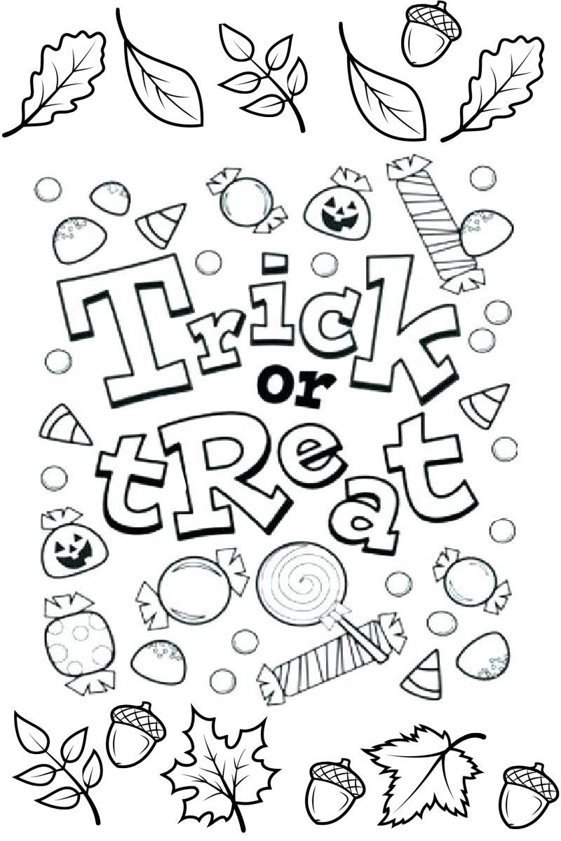 Trick or Treat Halloween Coloring Pages for Kids