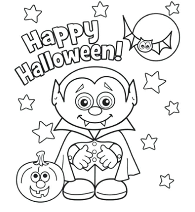 Vampire and Friends Cute page to print and color for Halloween
