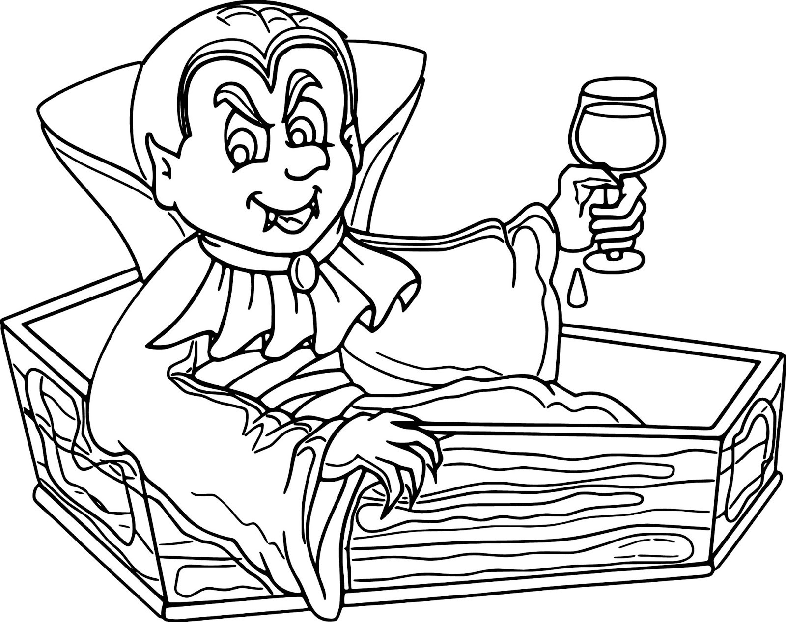 Vampire Coloring Pages Vampire Out From His Coffin for Halloween