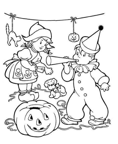 Vintage Halloween Fall Jack o Lantern Kids with costumes Coloring Picture