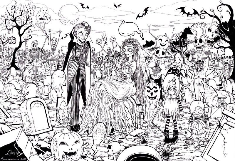 Wedding at the Graveyard Halloween Adult Coloring Pages